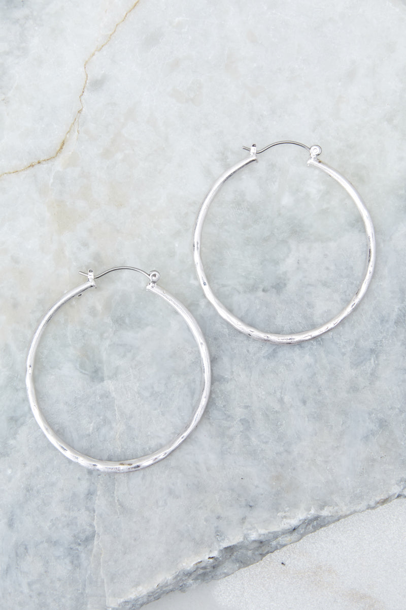 3 On The Come Up Silver Hoop Earrings at reddressboutique.com