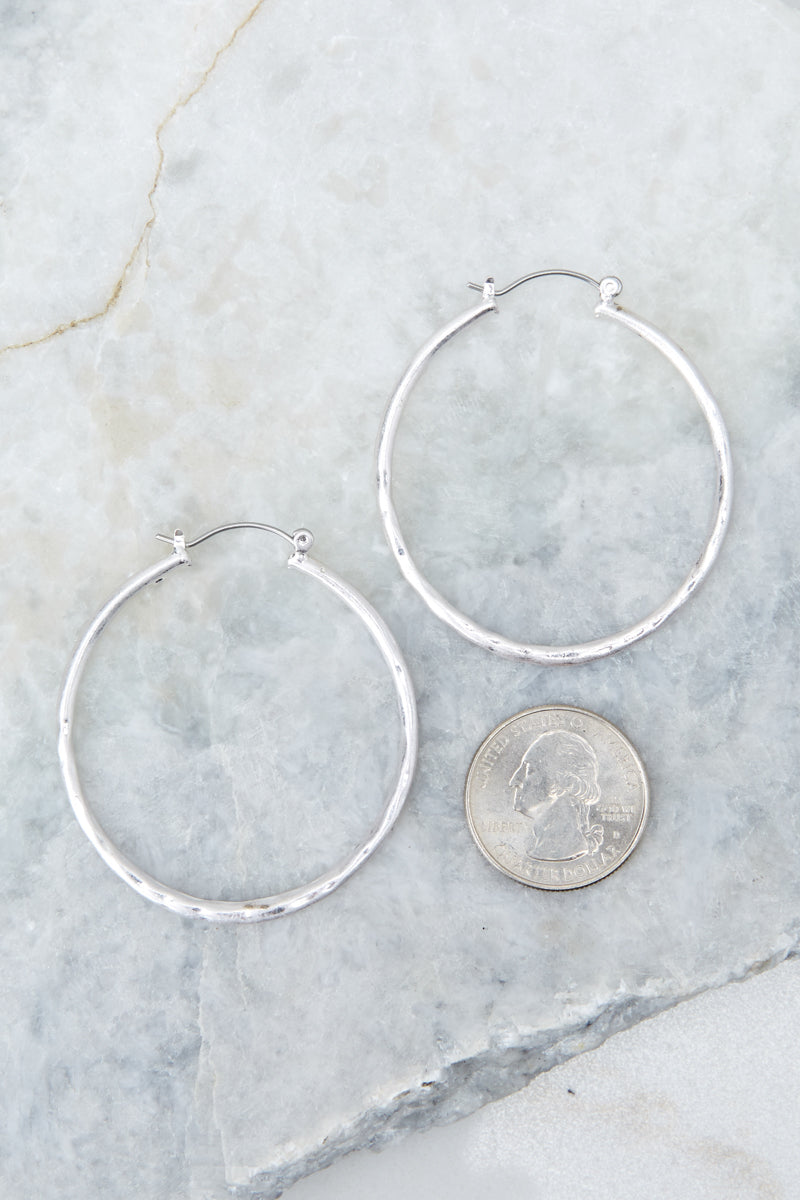 4 On The Come Up Silver Hoop Earrings at reddressboutique.com