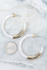 Give Them A Chance White And Gold Ivory Acrylic Earrings