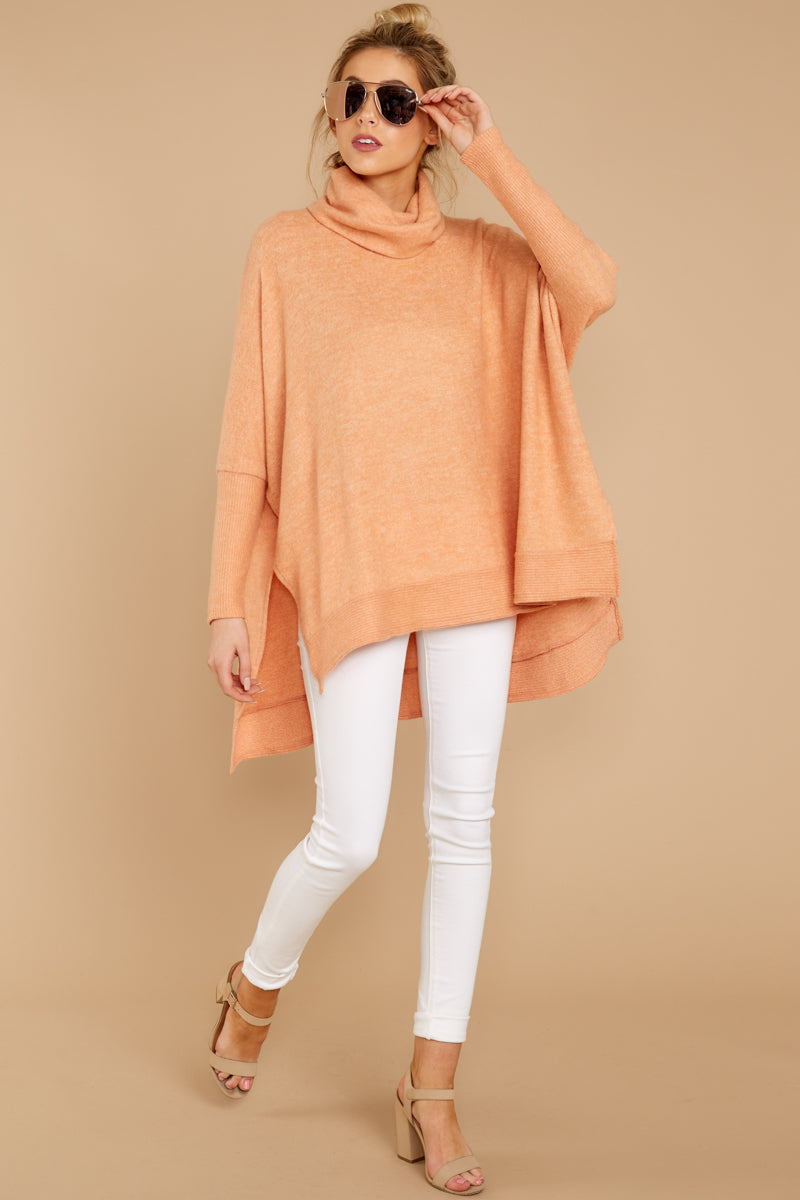 Comfy Orange Cowl Neck Sweater Cute Oversized Sweater Top