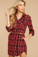High-Low-Hem Collared Long Sleeves Belted Pocketed Button Front Cotton Fall Winter Plaid Print Shirt Dress