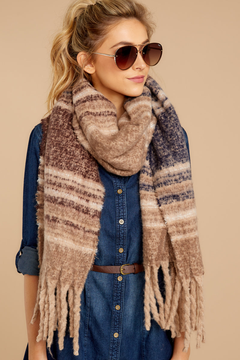 1 Slope Side Beige Striped Scarf at reddressboutique.com