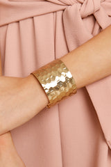 5 Make Them Stammer Gold Cuff Bracelet at reddressboutique.com