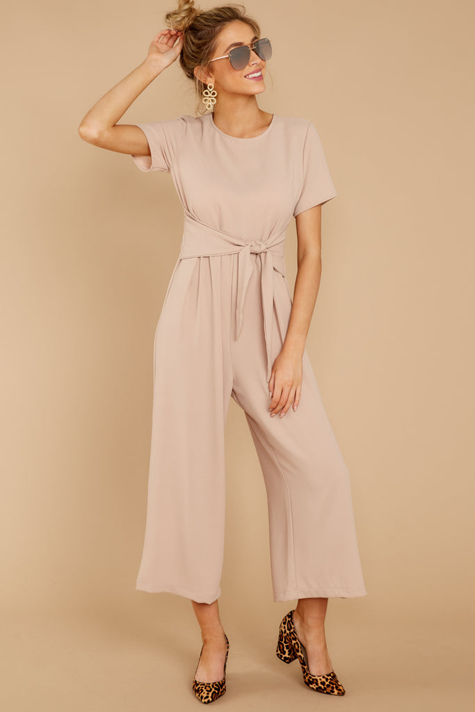 4 Unruffled Style Taupe Stripe Jumpsuit at reddressboutique.com