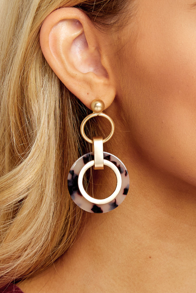 Spin Stories White Acrylic Earrings