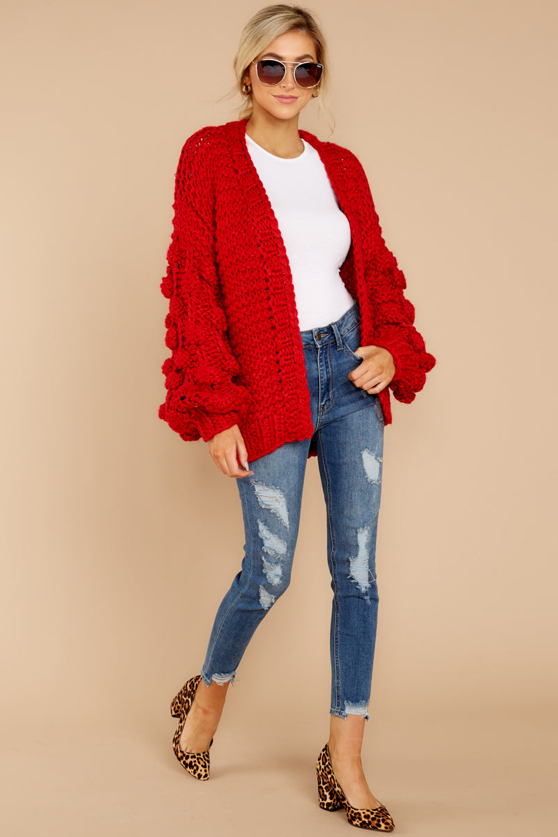 61be668b585 Cozy Oversized Red Knit Cardigan - Statement Sleeve Cardi - Top ...