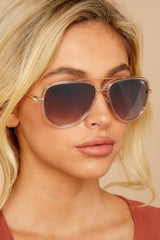 1 All In Clear Brown Sunglasses at reddressboutique.com