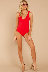 3 Out In The Sun Red One Piece at reddressboutique.com