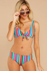 1 Ocean Ties Rainbow Stripe Bikini Top at reddressboutique.com