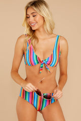 5 Ocean Ties Rainbow Stripe Bikini Top at reddressboutique.com