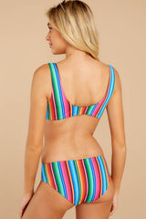 7 Ocean Ties Rainbow Stripe Bikini Top at reddressboutique.com