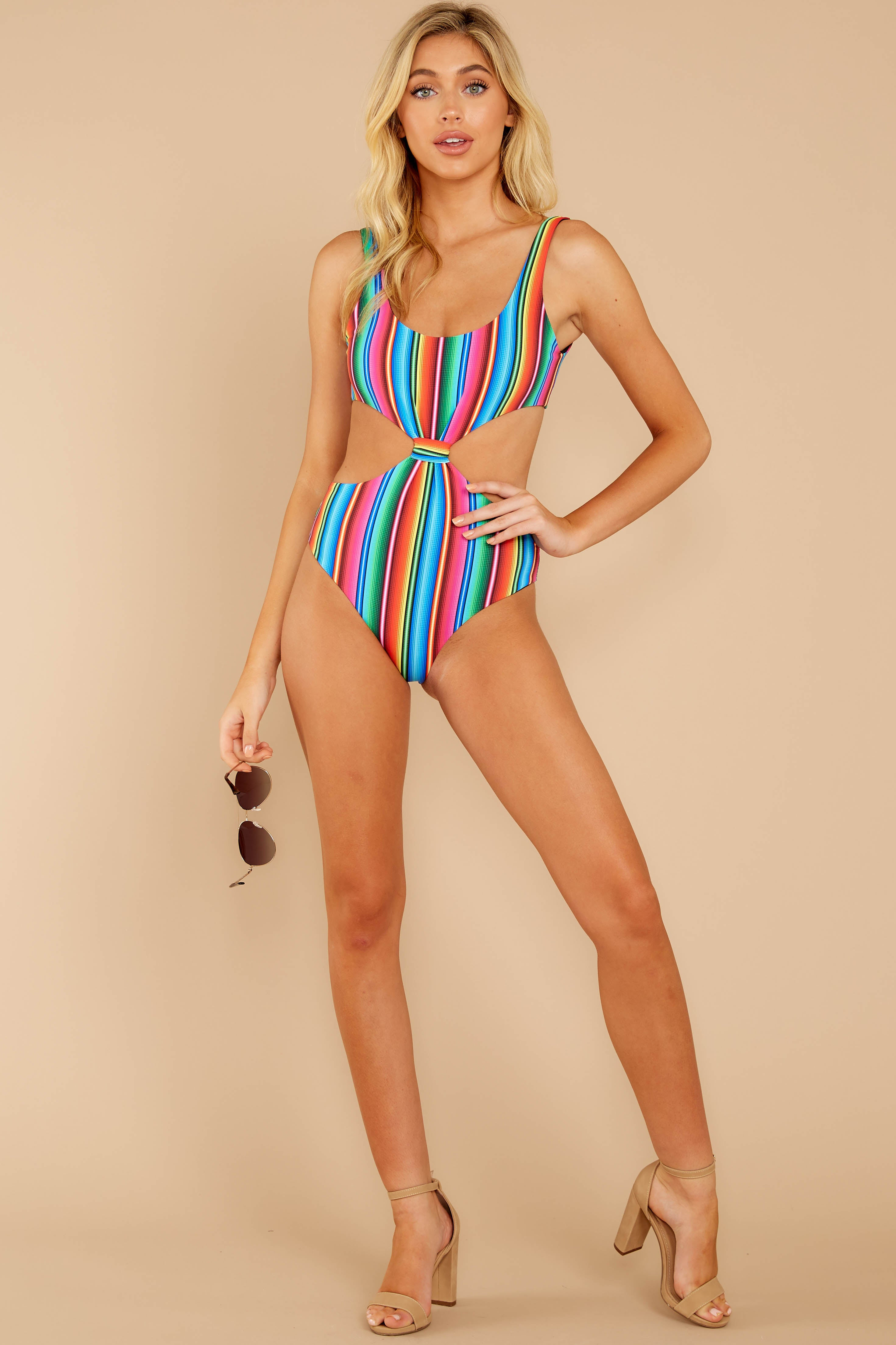 2 Holding Back Summer Rainbow Stripe One Piece Swimsuit at reddress.com