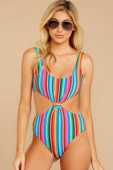 5 Holding Back Summer Rainbow Stripe One Piece Swimsuit at reddress.com