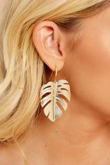 4 By Your Leaf Gold Earrings at reddressboutique.com