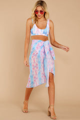 2 Tropic Trends Pink And Blue Seaside Sunrise Scarf at reddressboutique.com