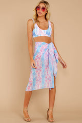 3 Tropic Trends Pink And Blue Seaside Sunrise Scarf at reddressboutique.com