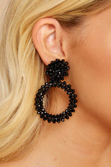 3 Multifaceted Charm Black Earrings at reddressboutique.com