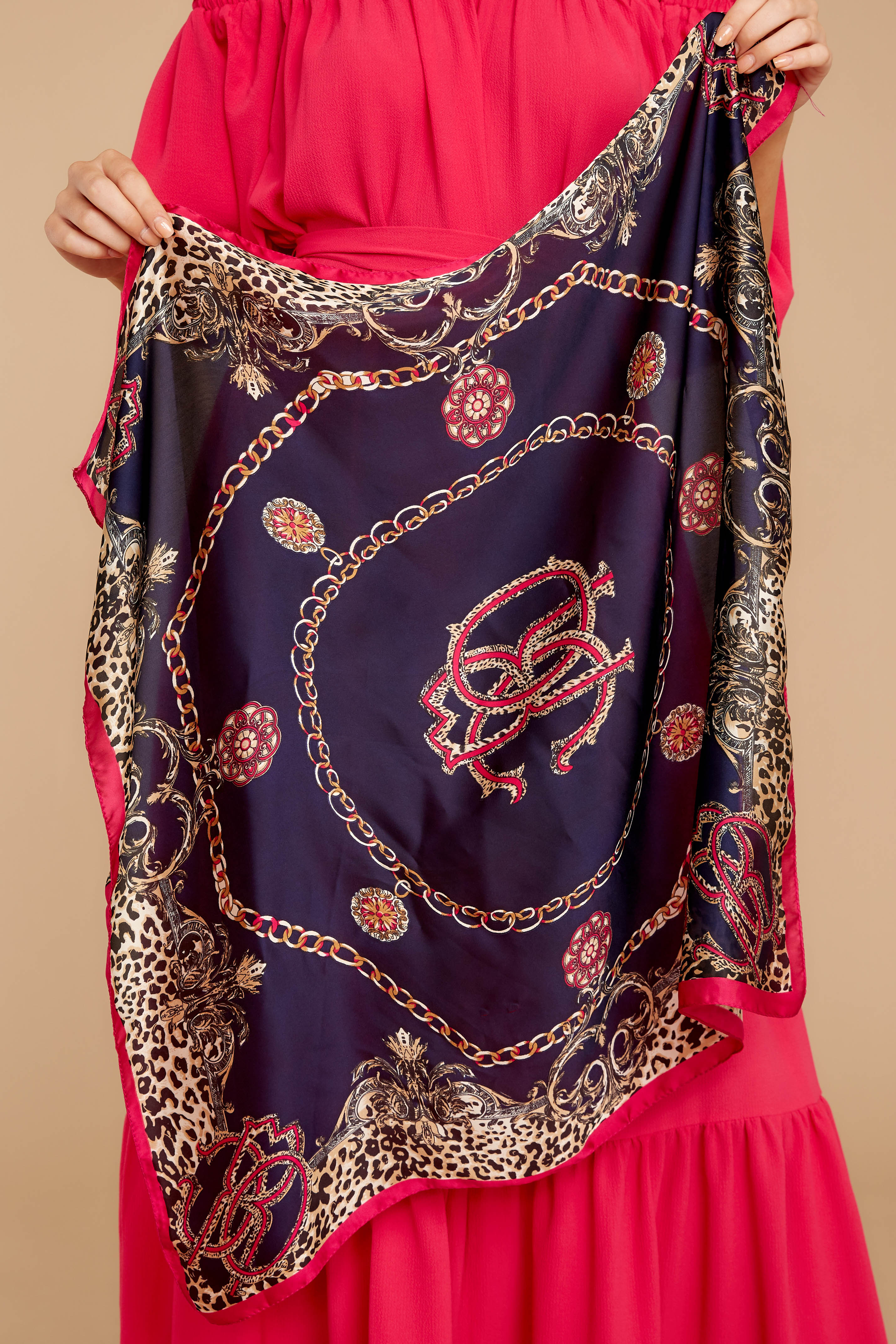 2 Call My Name Navy Multi Print Scarf at reddressboutique.com