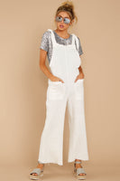Square Neck V Back Pocketed Summer Fall Cotton Loose Fit Jumpsuit