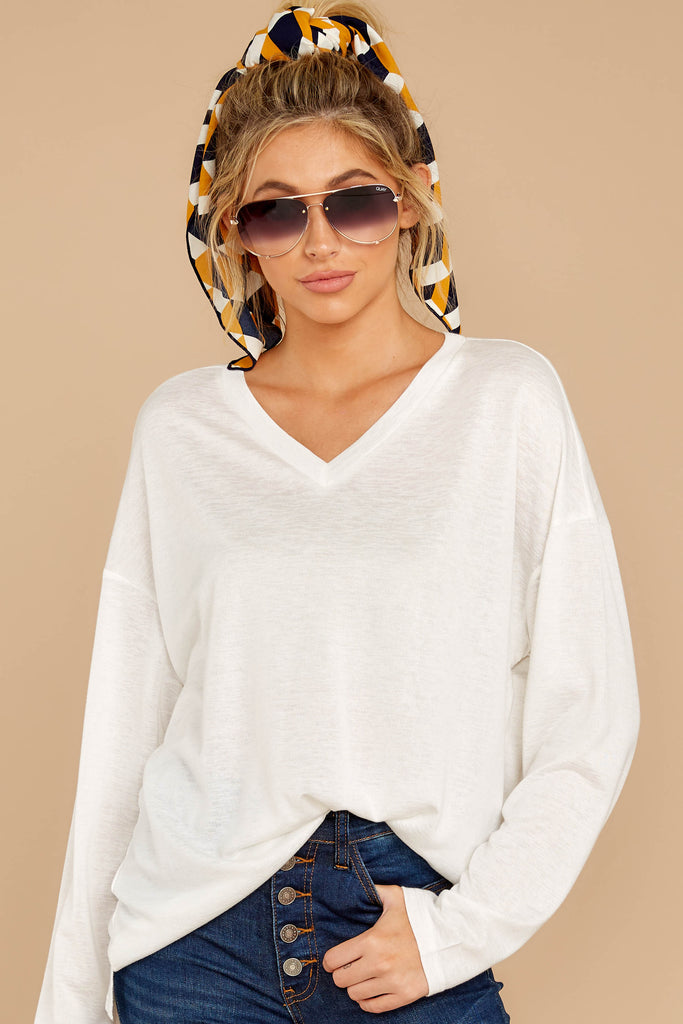 3 Updated Status White Quarter Zip Pullover at reddressboutique.com