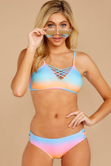 4 My Float Or Yours Pink Multi Bikini Top at reddressboutique.com