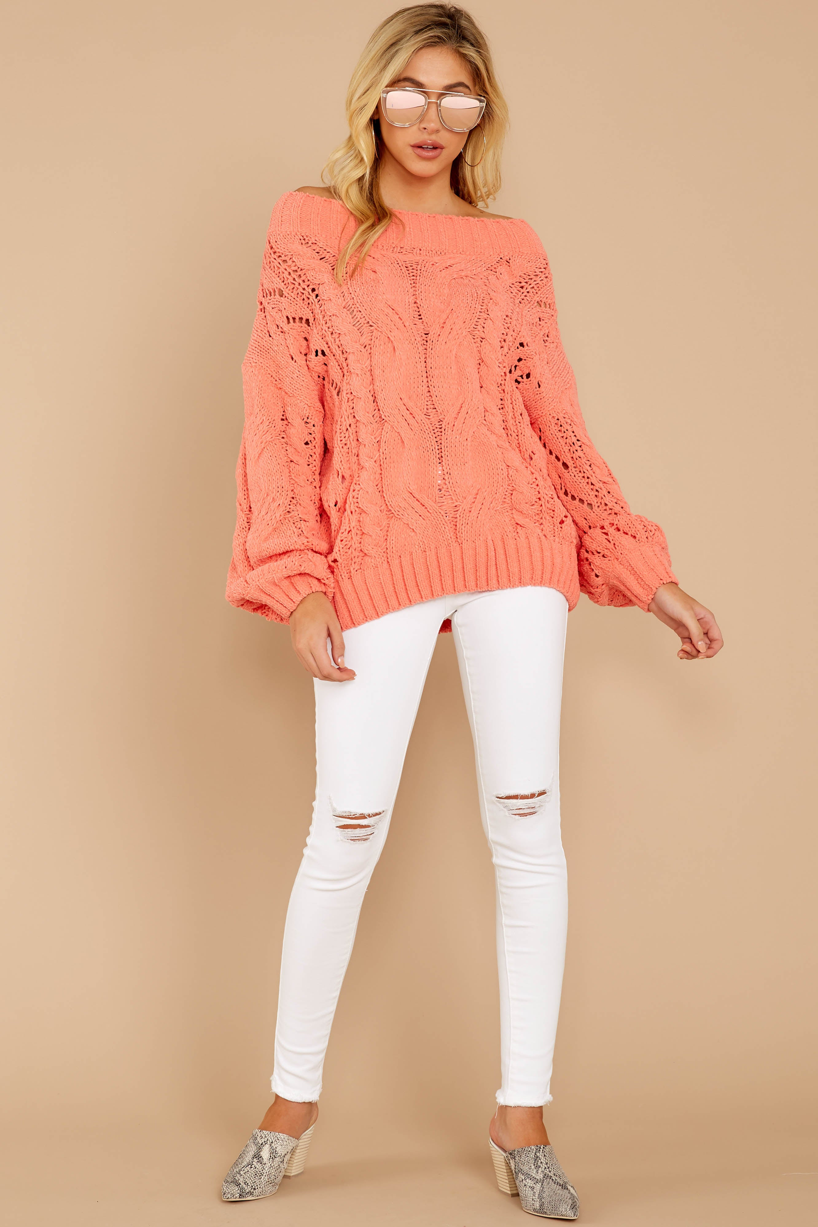 3 Something Is Calling You Coral Pink Sweater at reddressboutique.com