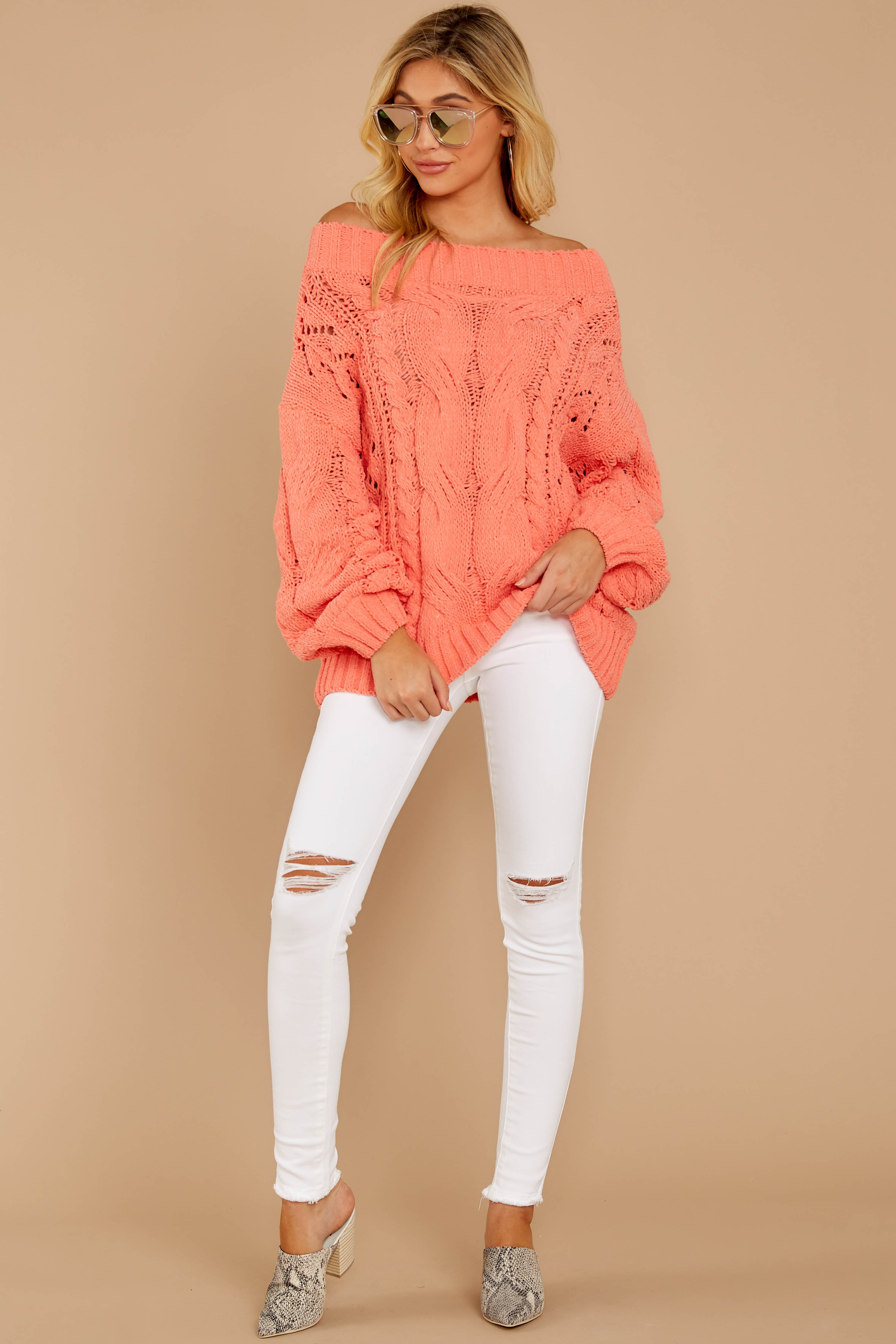 1 Something Is Calling You Coral Pink Sweater at reddressboutique.com