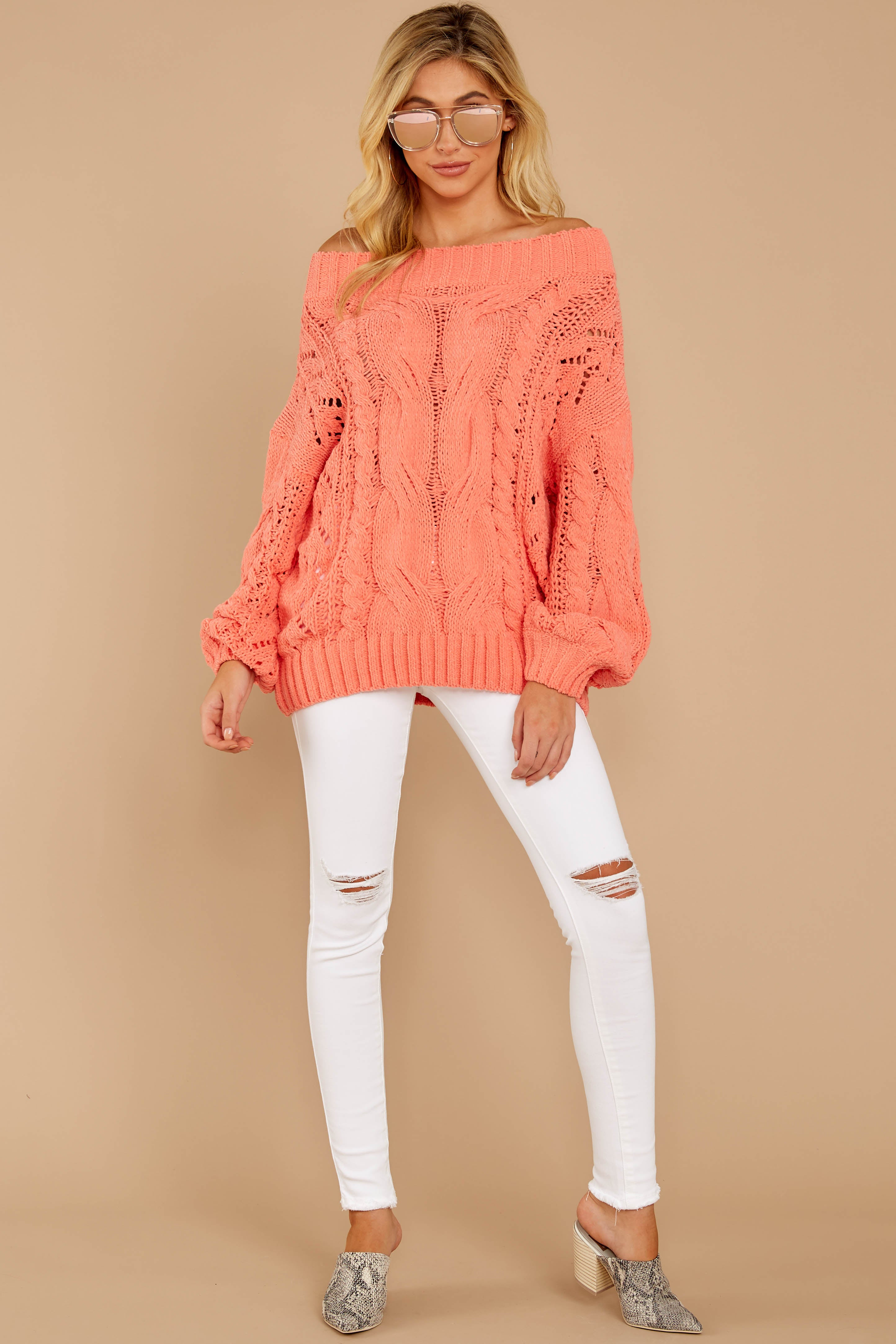 2 Something Is Calling You Coral Pink Sweater at reddressboutique.com