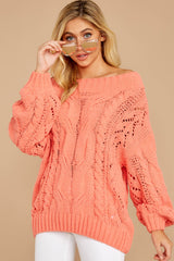4 Something Is Calling You Coral Pink Sweater at reddressboutique.com
