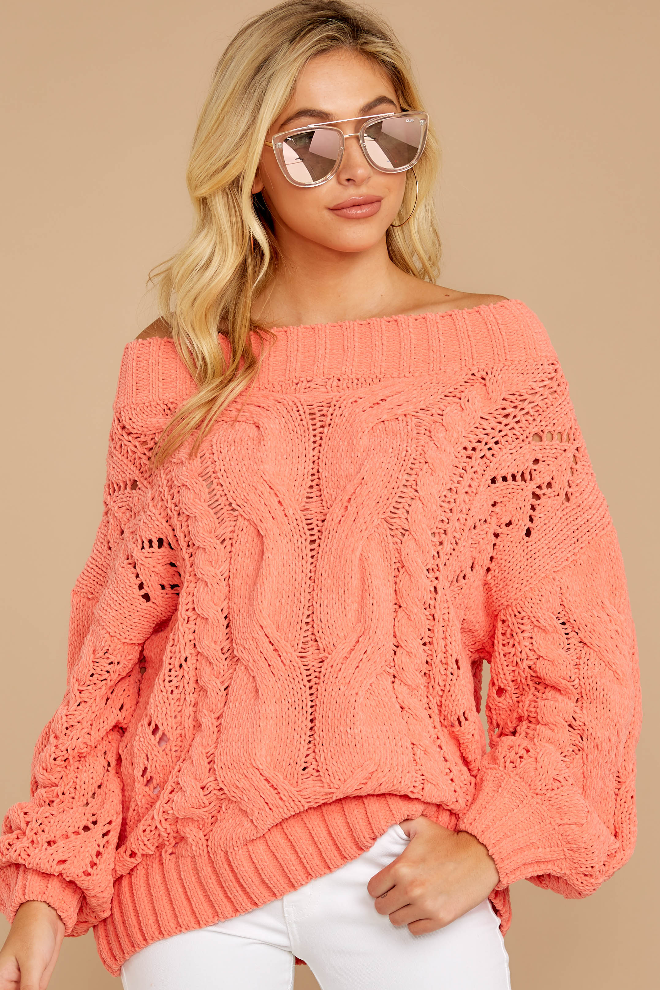 5 Something Is Calling You Coral Pink Sweater at reddressboutique.com