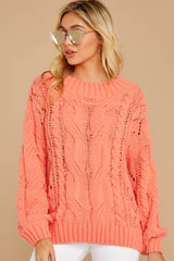 6 Something Is Calling You Coral Pink Sweater at reddressboutique.com