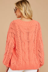 7 Something Is Calling You Coral Pink Sweater at reddressboutique.com