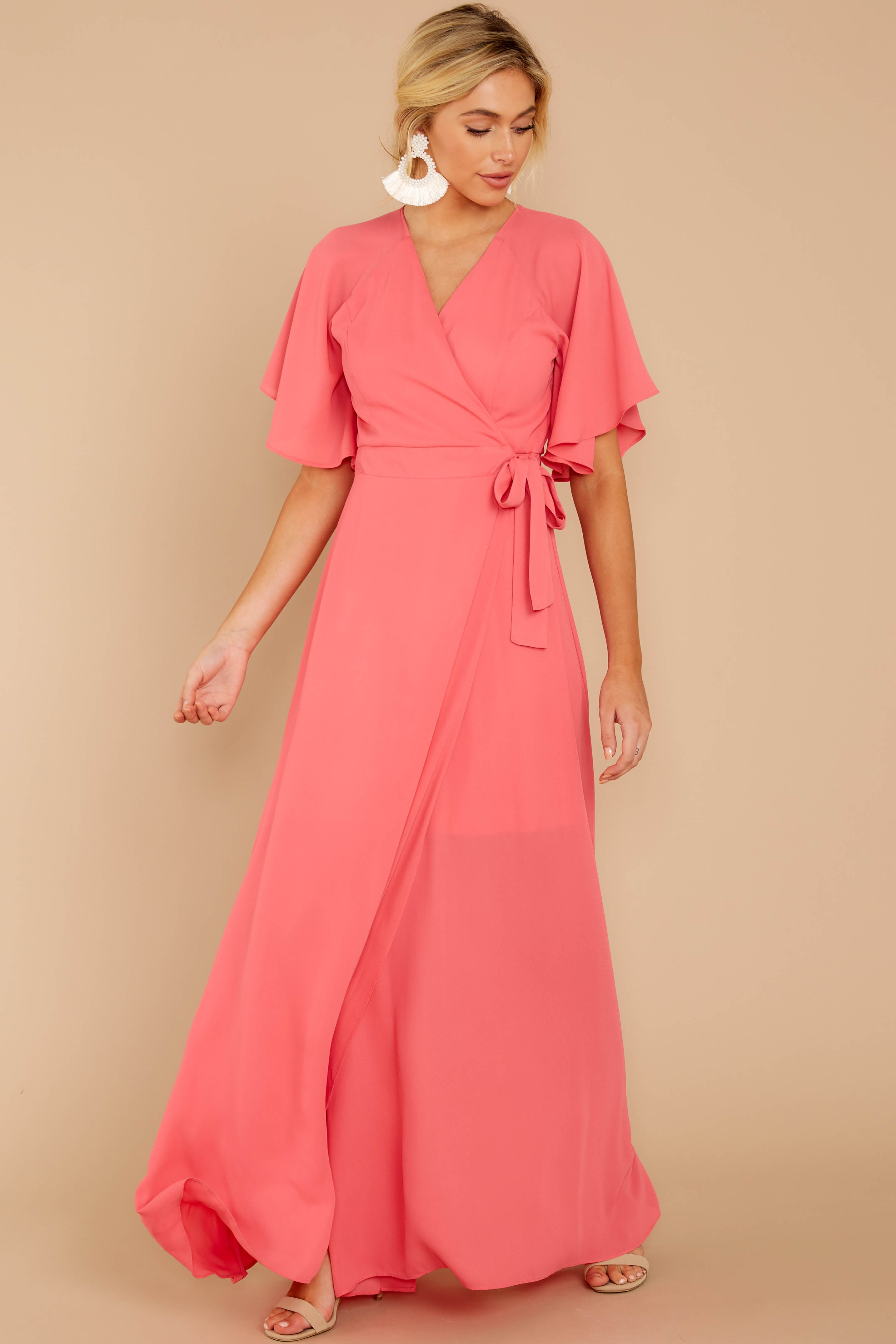 1 Wrapped In Elegance Flamingo Pink Maxi Dress at reddress.com