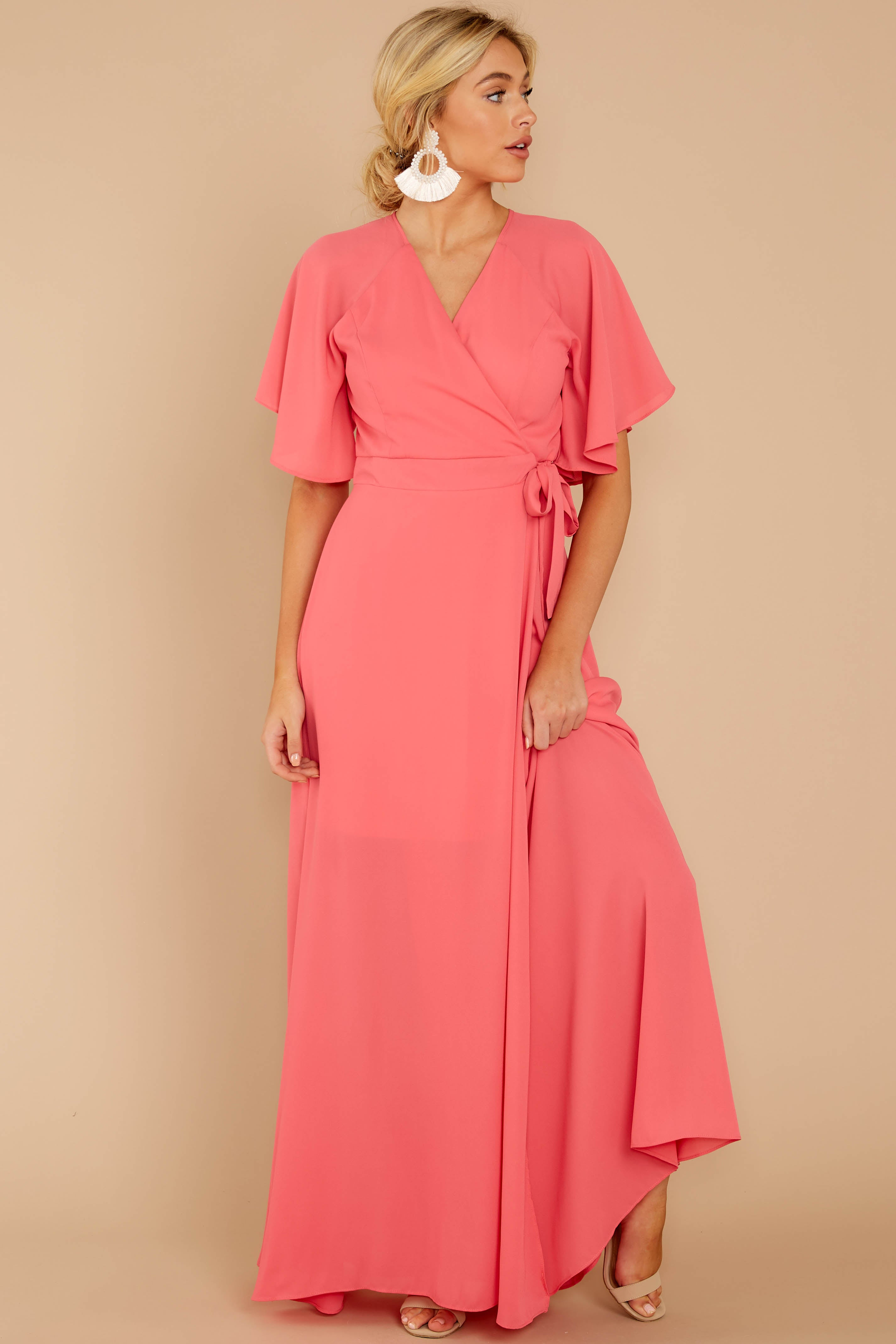 2 Wrapped In Elegance Flamingo Pink Maxi Dress at reddress.com