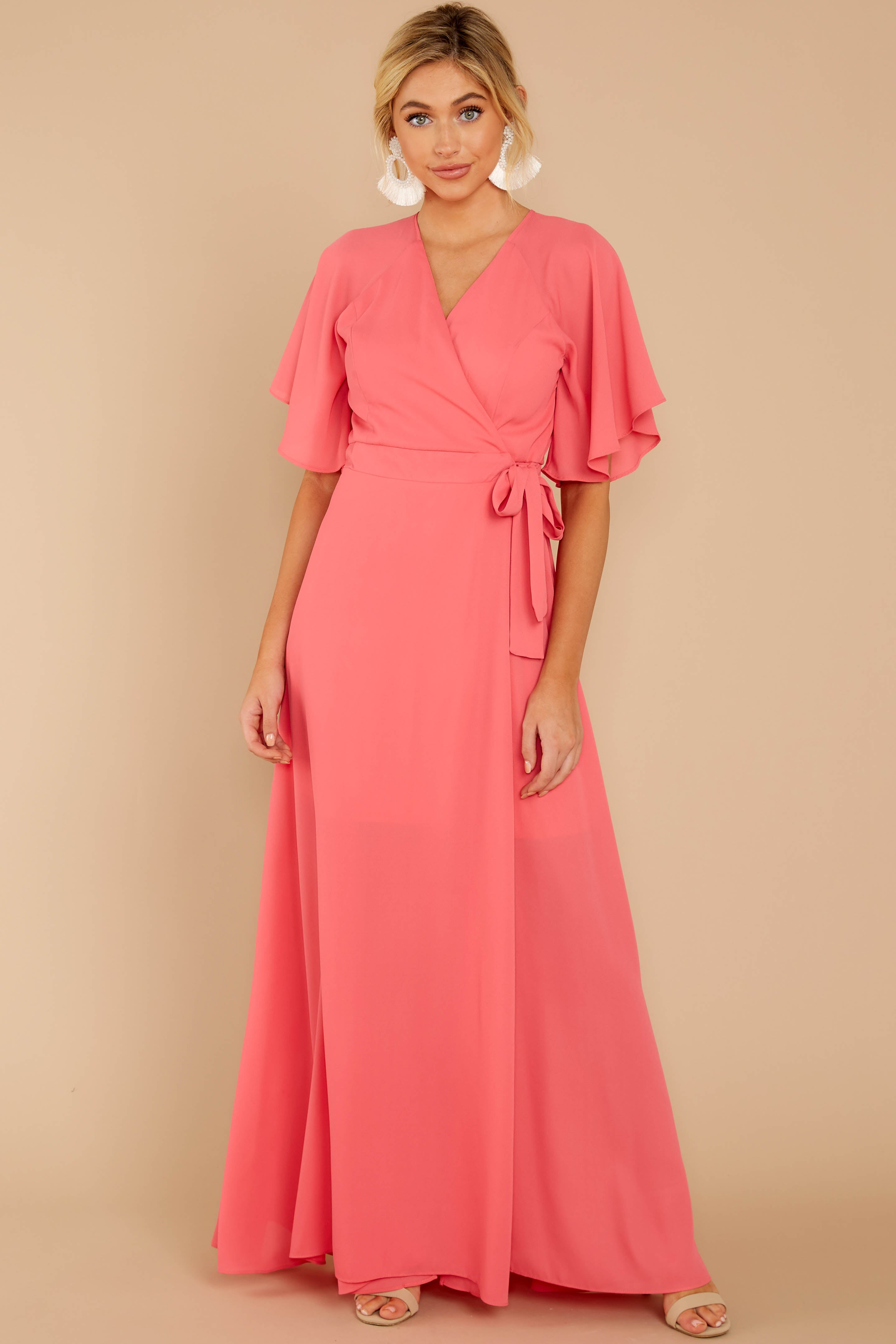 3 Wrapped In Elegance Flamingo Pink Maxi Dress at reddress.com