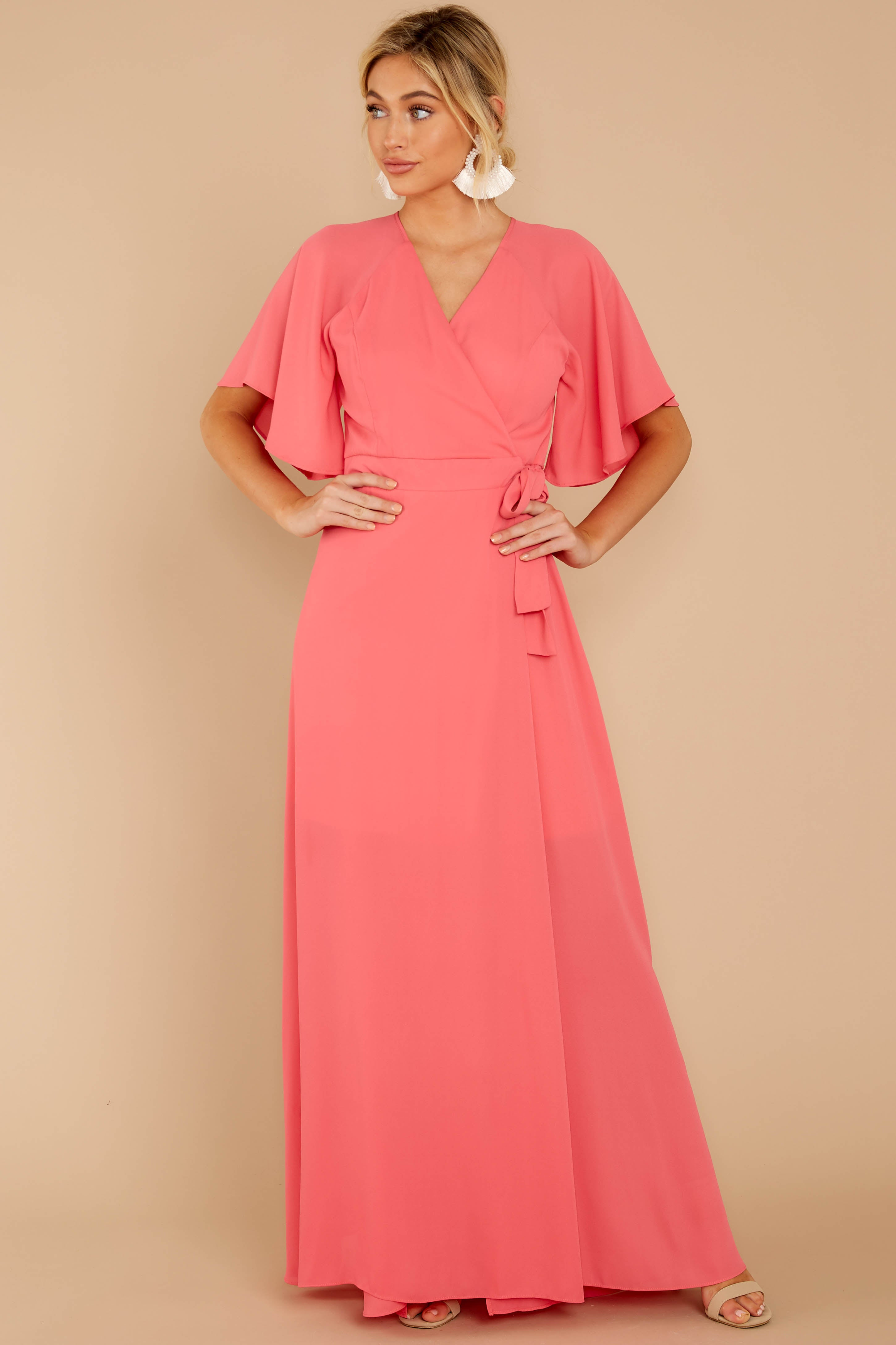 4 Wrapped In Elegance Flamingo Pink Maxi Dress at reddress.com