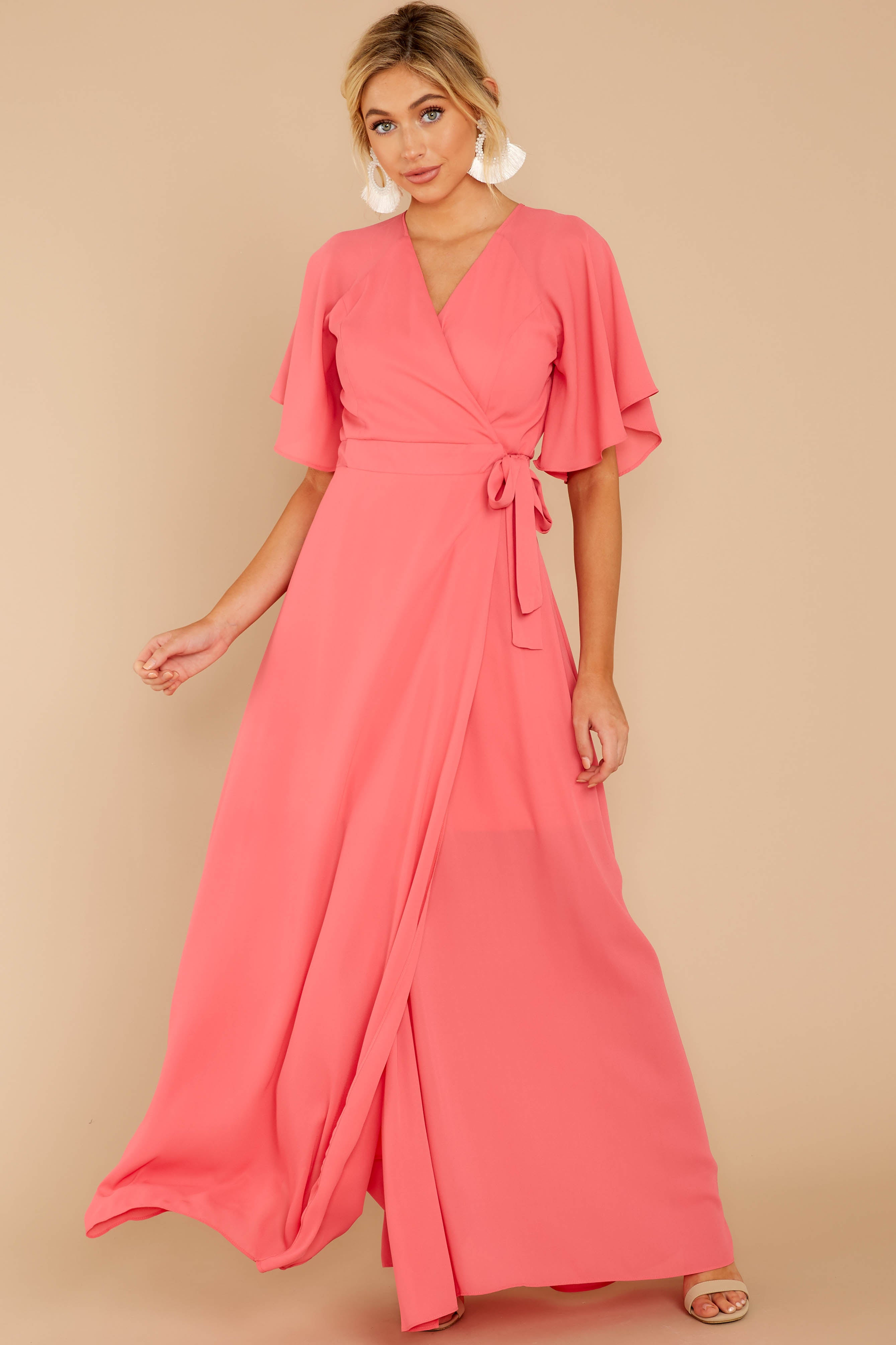 5 Wrapped In Elegance Flamingo Pink Maxi Dress at reddress.com