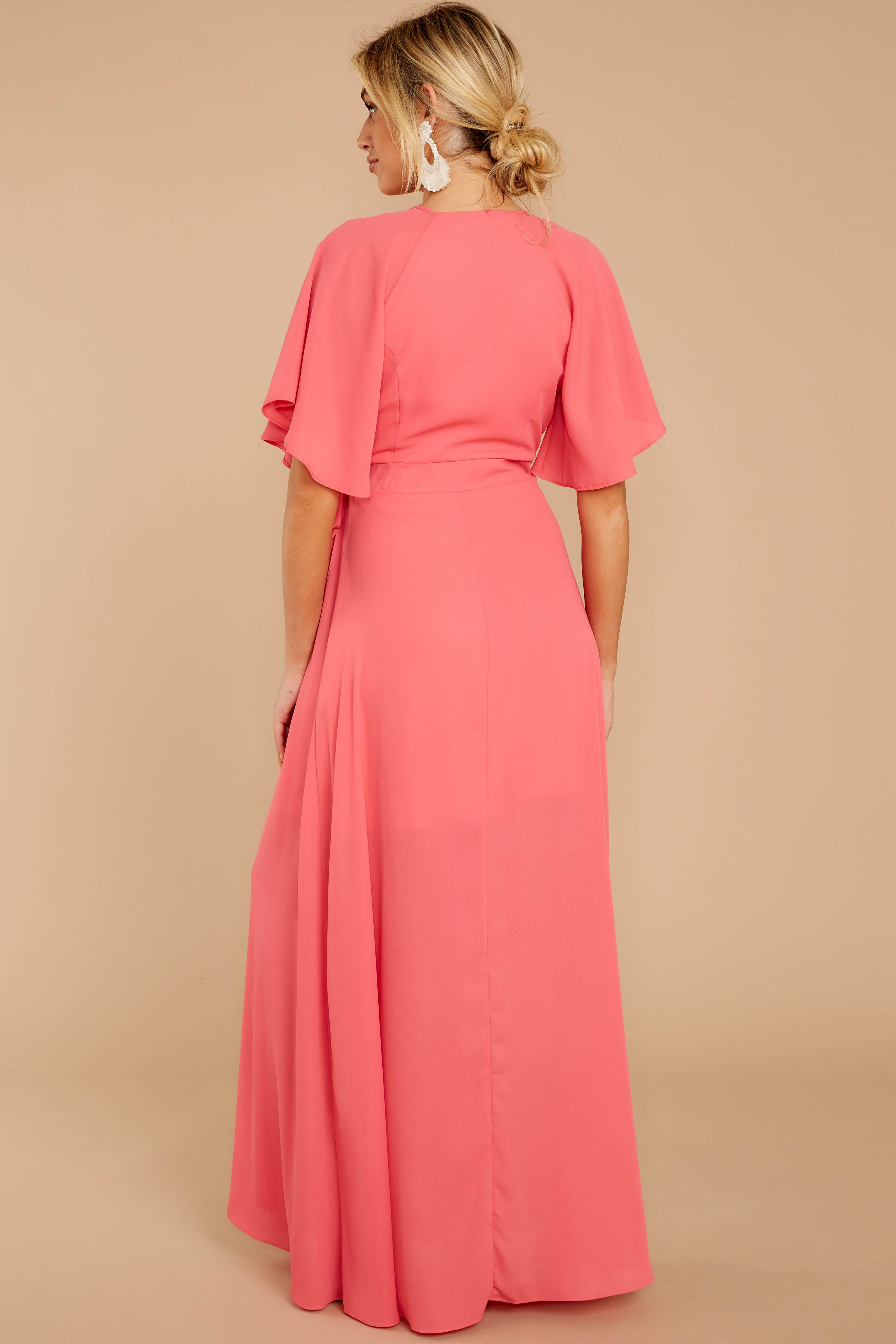 6 Wrapped In Elegance Flamingo Pink Maxi Dress at reddress.com