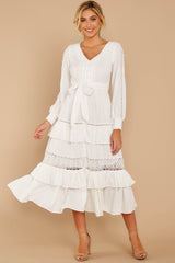 5 One Day Soon White Lace Midi Dress at reddress.com