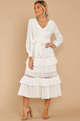4 One Day Soon White Lace Midi Dress at reddress.com