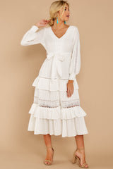 3 One Day Soon White Lace Midi Dress at reddress.com