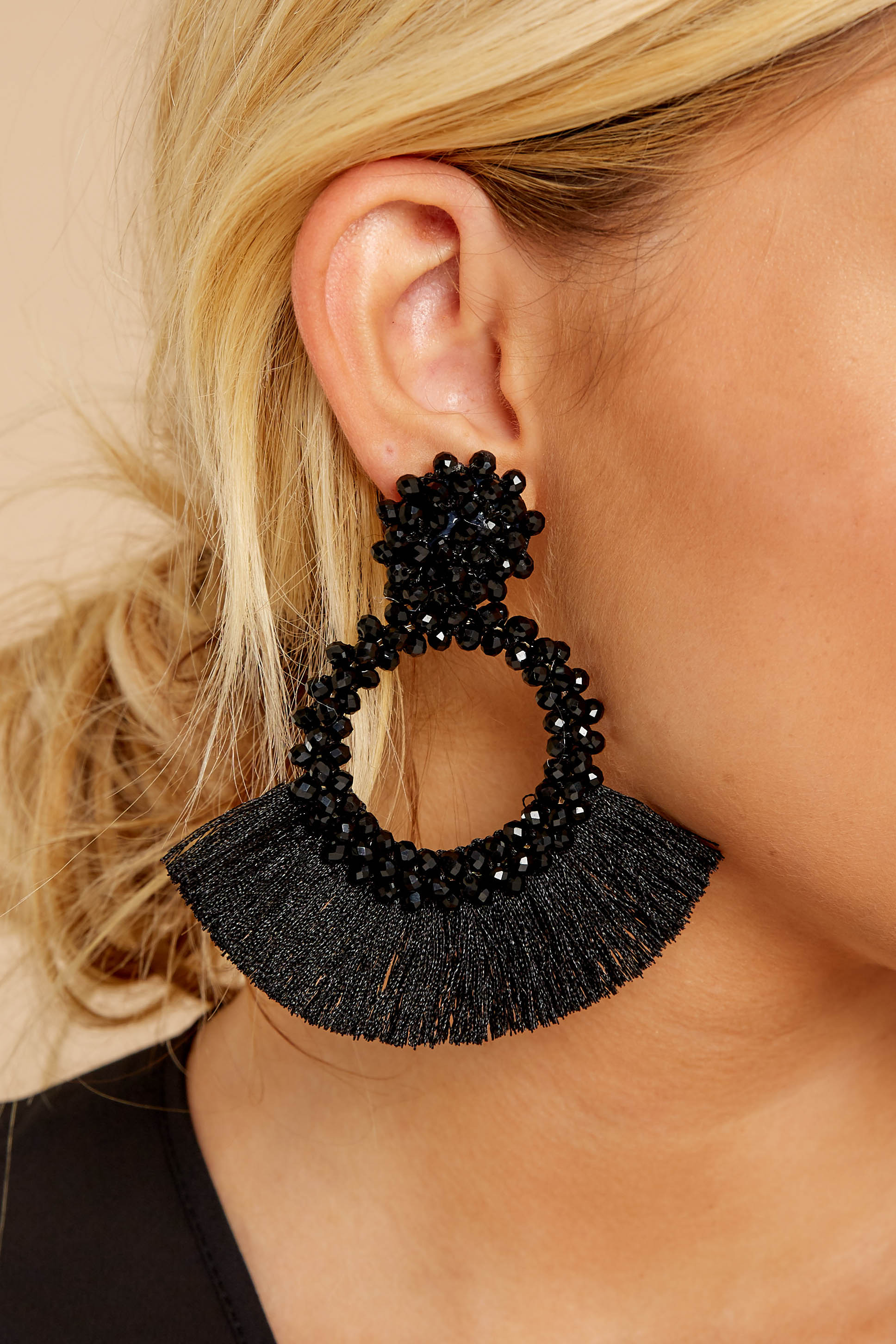 1 Buzzworthy Style Black Statement Earrings at reddressboutique.com