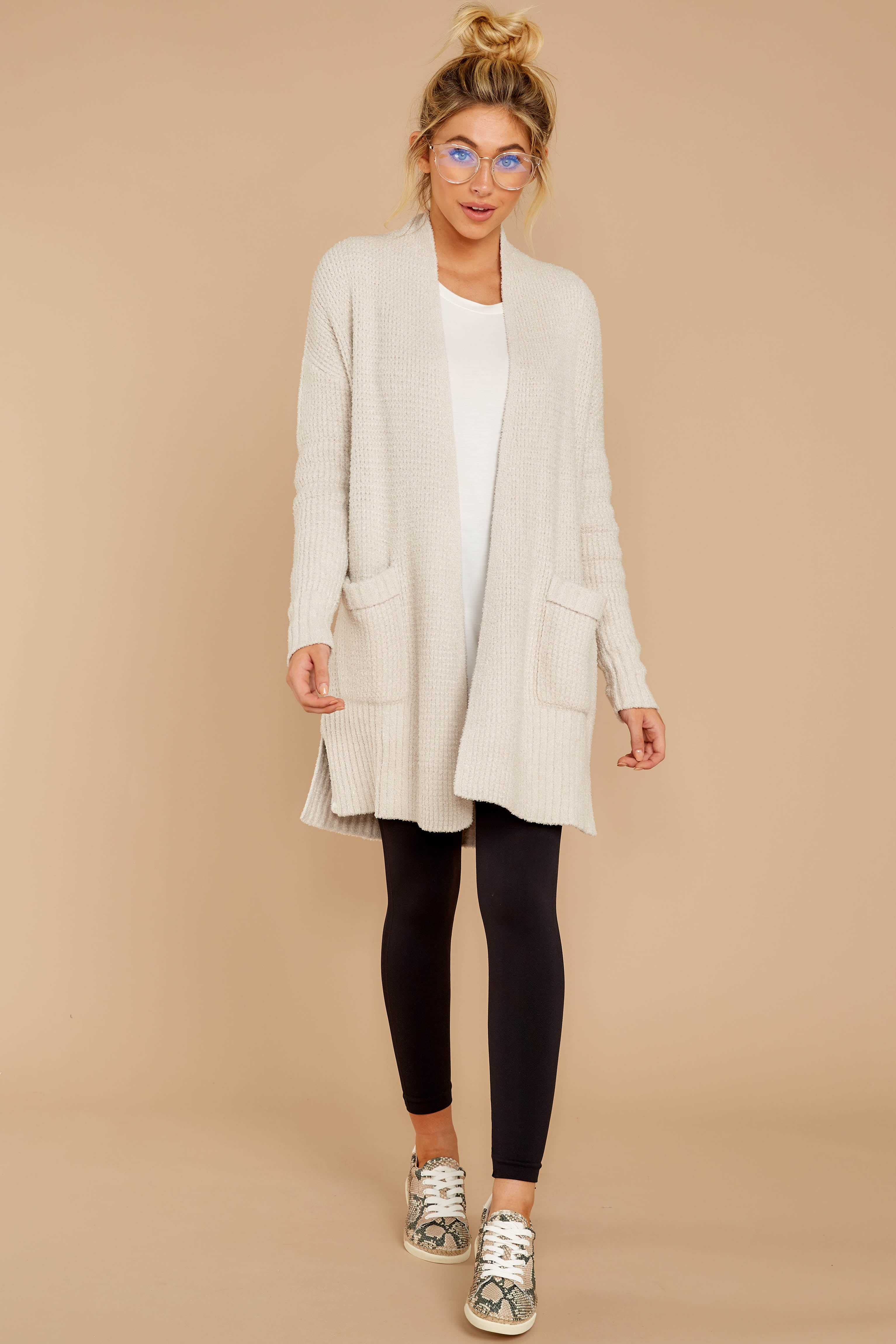 1 CozyChic Lite® Bisque Long Weekend Cardi at reddressboutique.com