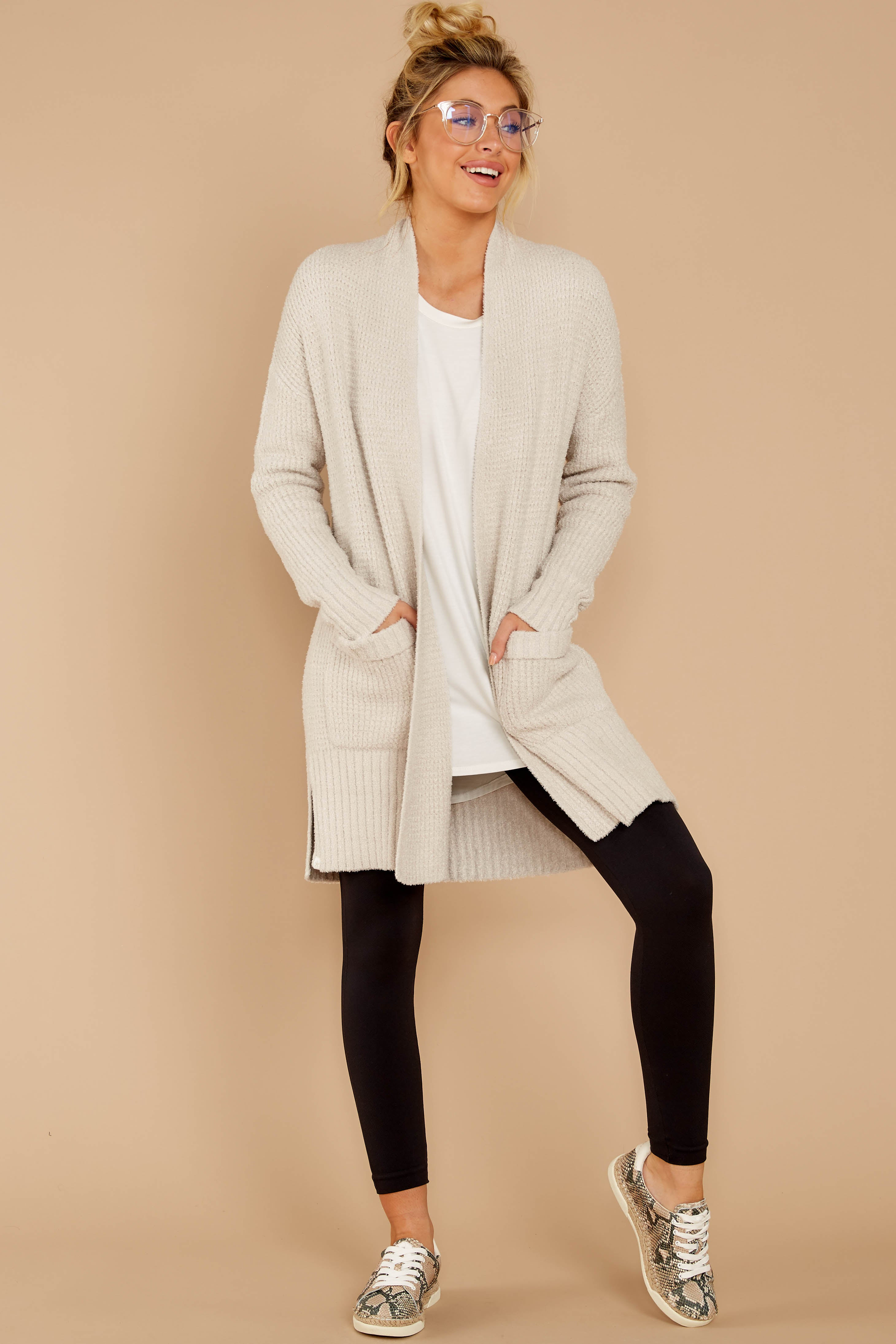 2 CozyChic Lite® Bisque Long Weekend Cardi at reddressboutique.com