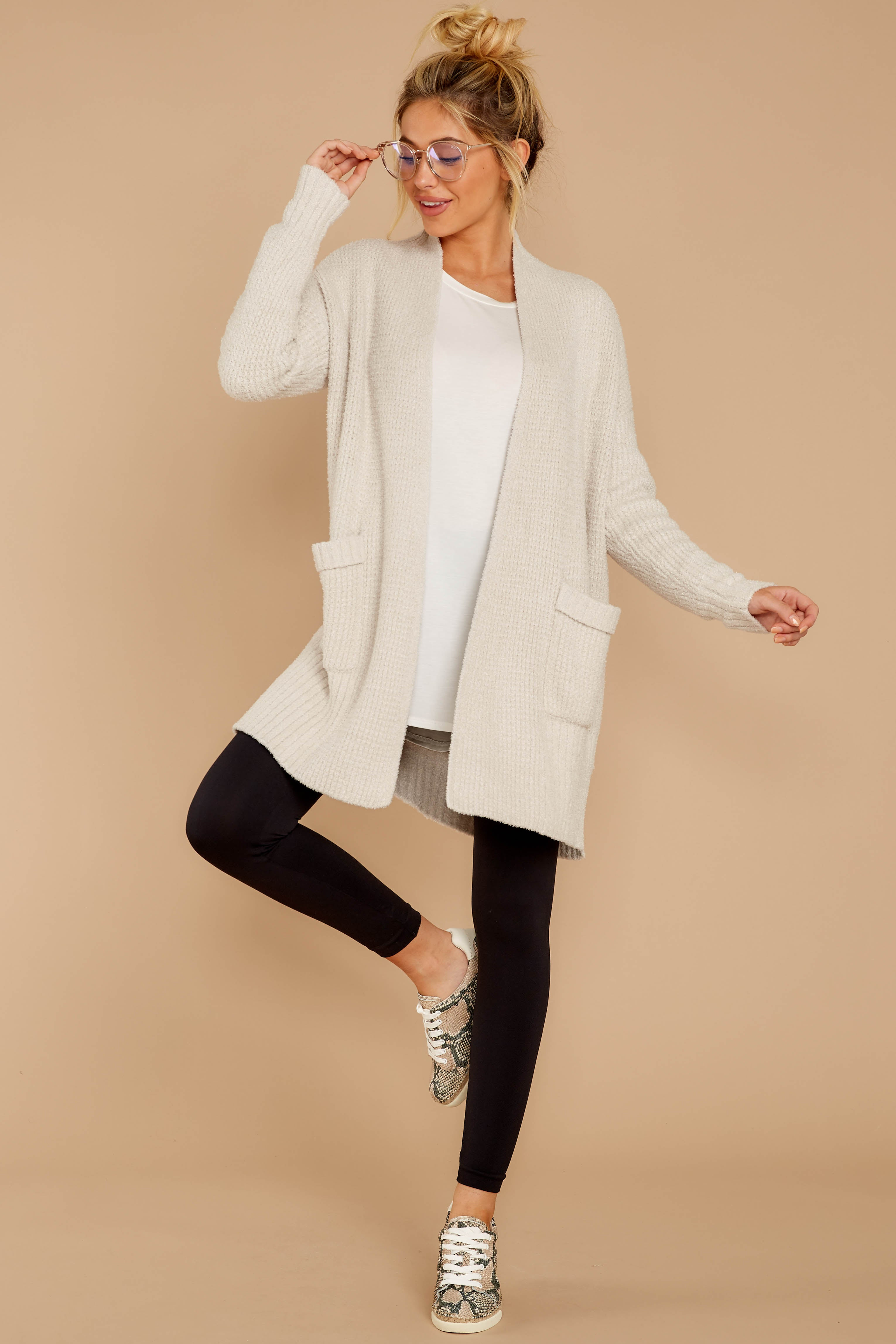 3 CozyChic Lite® Bisque Long Weekend Cardi at reddressboutique.com