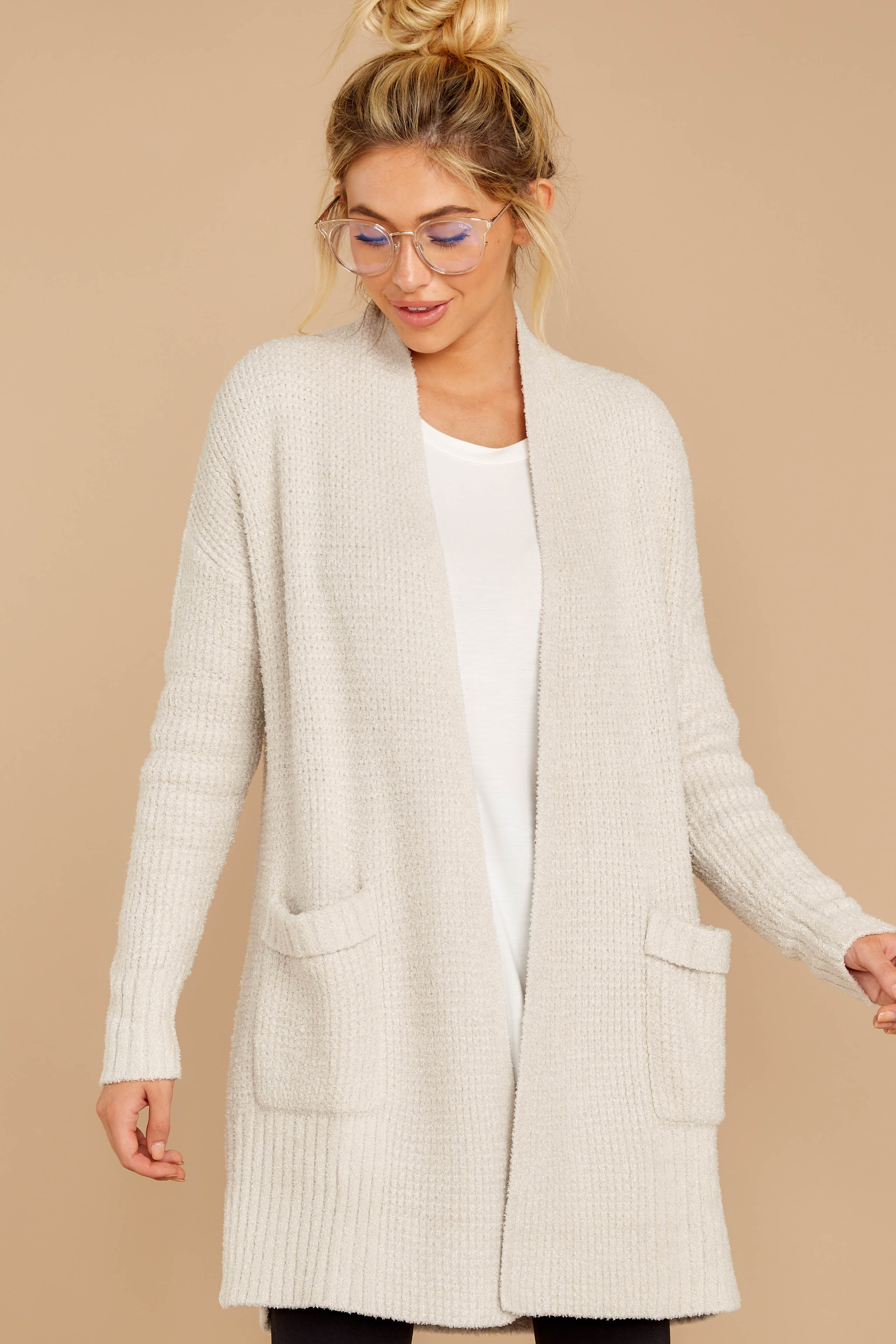 5 CozyChic Lite® Bisque Long Weekend Cardi at reddressboutique.com