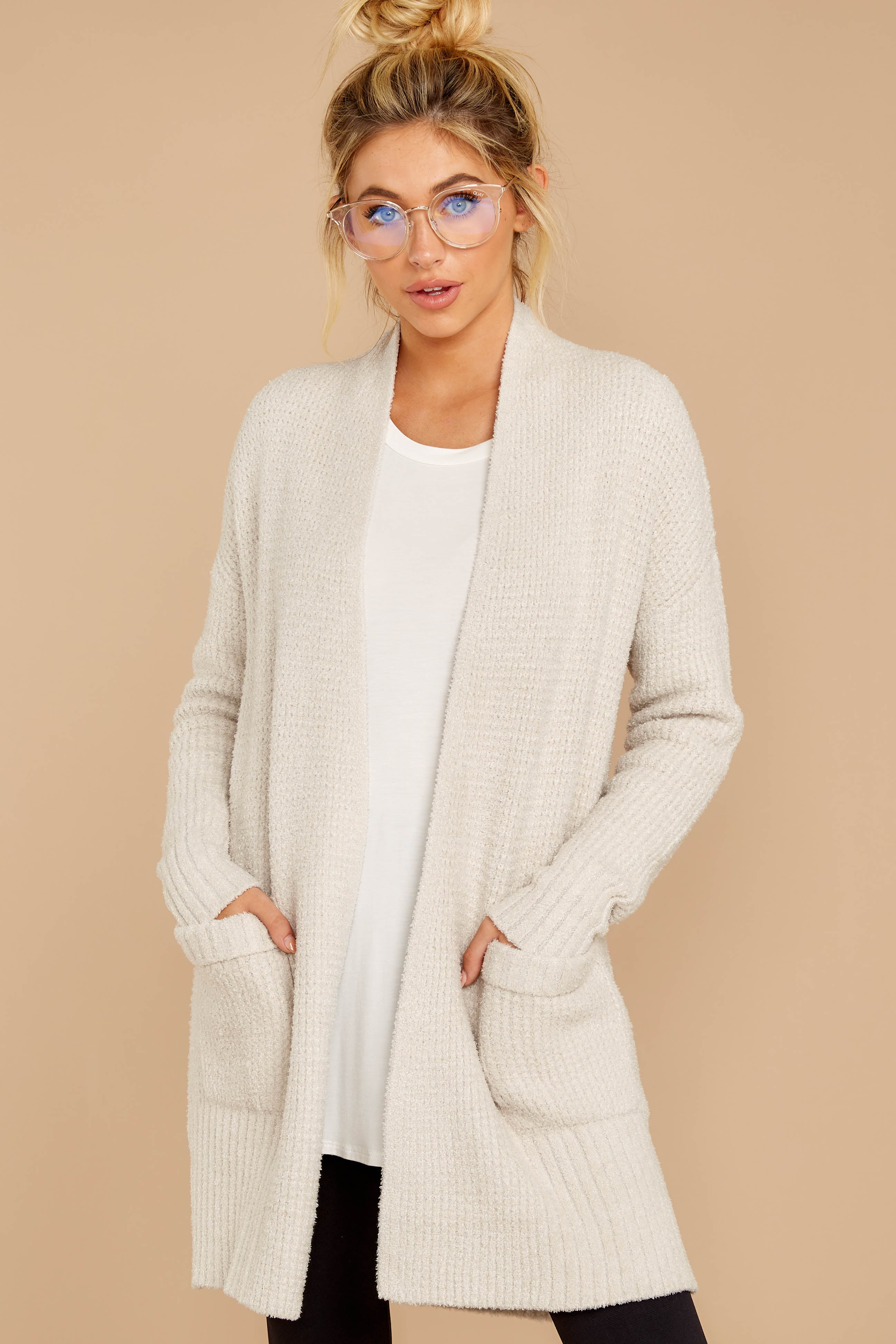 6 CozyChic Lite® Bisque Long Weekend Cardi at reddressboutique.com