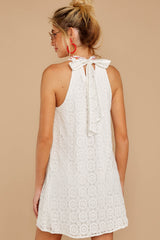 7 All The Chatter White Embroidered Lace Dress at reddressboutique.com