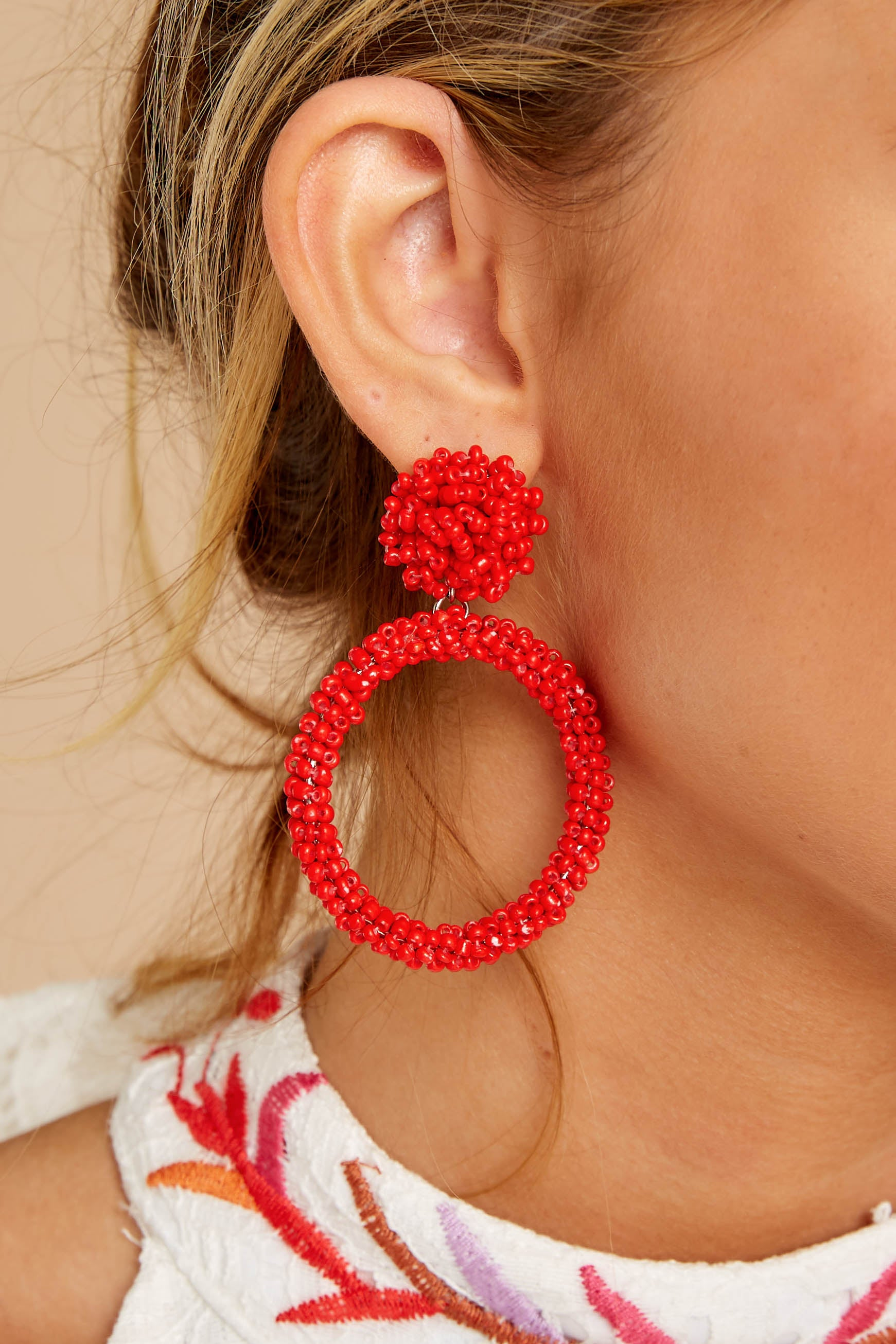 1 No Questions Asked Red Beaded Earrings at reddressboutique.com