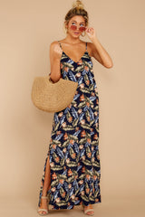 3 Are We There Yet Navy Tropical Print Maxi Dress at reddressboutique.com